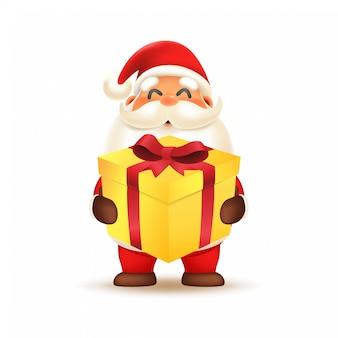 Симпатичный санта-клаус с подарочной коробкой