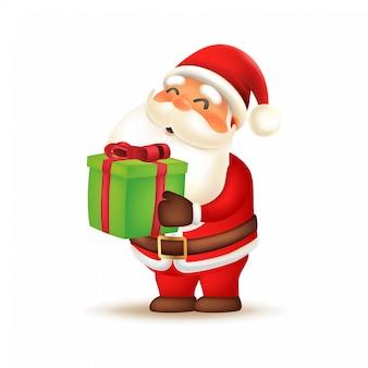 Милый санта-клаус дает подарочную коробку