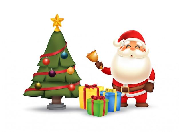 Санта-клаус звонит в колокольчик возле елки