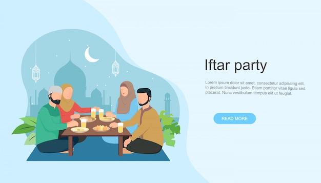 ラマダンの断食後にイスラム家族のイフタールが食べる