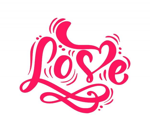 Красная каллиграфия слово любовь надписи