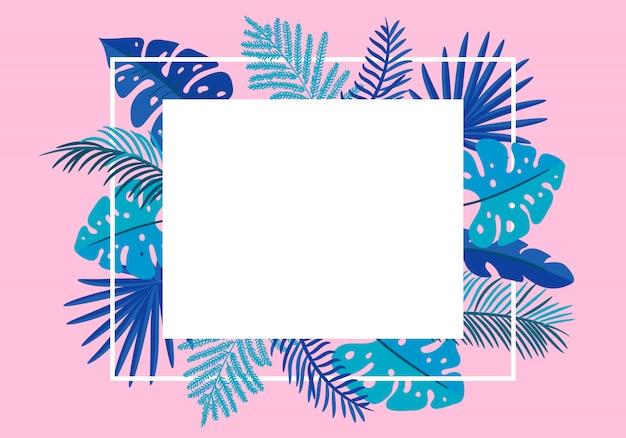 熱帯の夏の花のフレームは、ヤシを残します。グリーティングカード