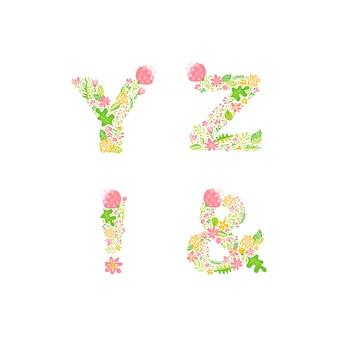 手描き花大文字モノグラムまたはロゴ