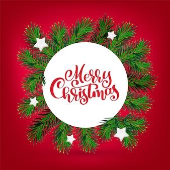 書道メリークリスマスと新年とクリスマスの花輪