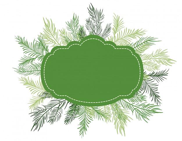 モミの木の枝と緑のクリスマスフレーム