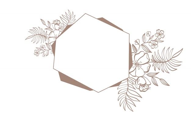 Геометрическая коричневая свадебная пригласительная рамка с цветами и листьями