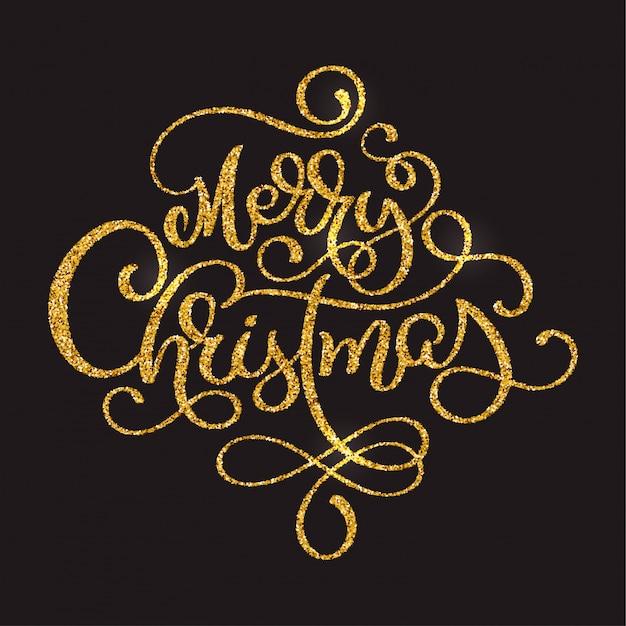 暗い茶色の背景にメリークリスマスゴールデンテキスト