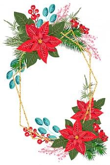 花ポインセチアとグリーティングカードの冬の休日フレーム