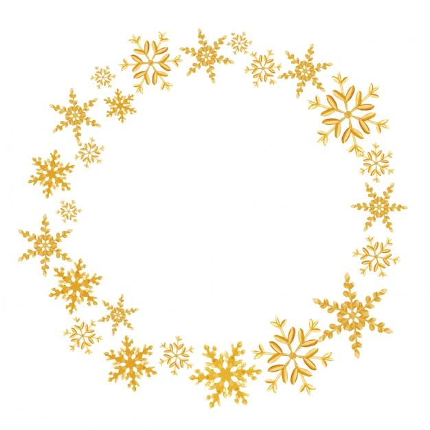 黄金の雪で作られたクリスマスの花輪
