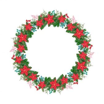 花のポインセチアと赤い果実の現実的なクリスマスベクトルの花輪