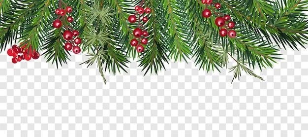 Реалистичная новогодняя рамка с елкой и ягодами