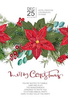 花の花輪の装飾とメリークリスマスのグリーティングカード