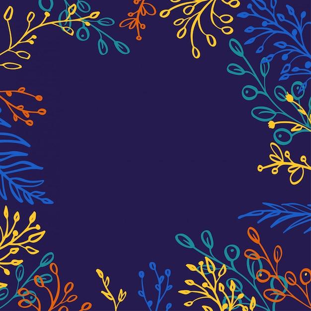 ハーブミックスの正方形のフレーム。手描きの植物、枝