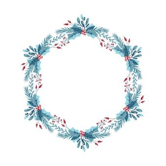 Рождественский венок с ягодами, шишка и ветви. шаблон