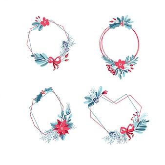 花束の花輪を持つ幾何学的な多角形フレームのセット。クリスマステンプレート
