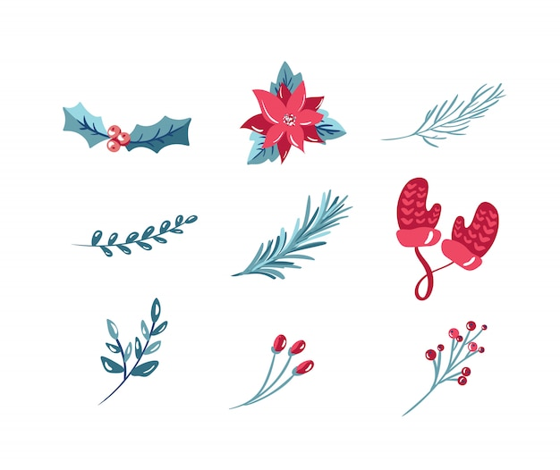 Набор иконок рождественских праздников с бантом из омелы