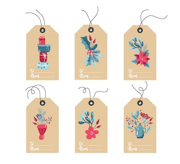Набор рисованной каракули рождественская этикетка