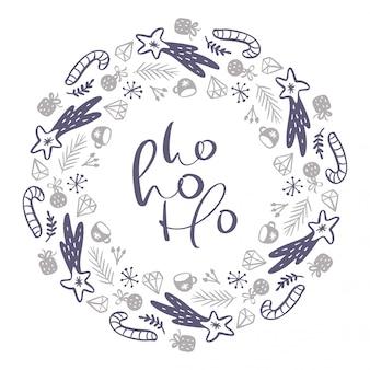 クリスマスホーホーホースカンジナビア書道ビンテージテキスト。冬の花輪