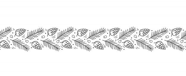 クリスマスモノラインスカンジナビアのシームレスパターン飾り