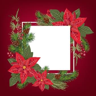 花のポインセチアブーケ装飾とメリークリスマスのグリーティングカード