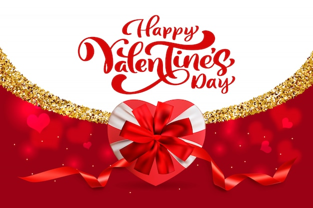 幸せなバレンタインデータイポグラフィ、グリーティングバレンタインカード