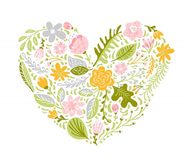 ハート形の色とりどりの花のベクトルイラスト。