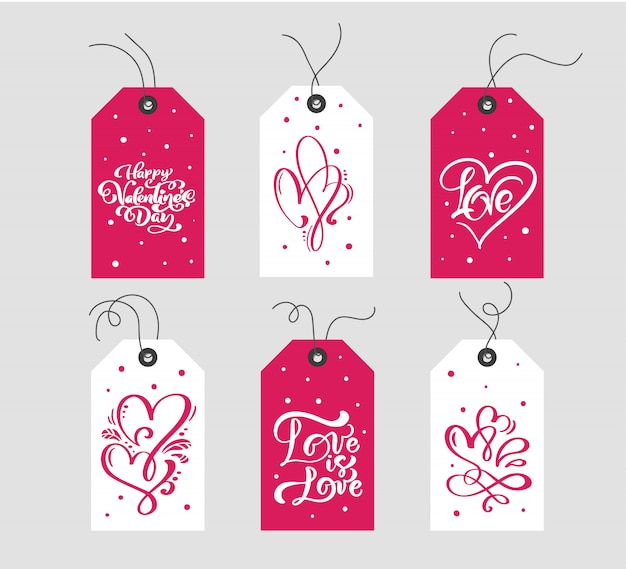 バレンタインの日ギフトタグタイポグラフィベクトルのセット。ホリデーバレンタインカード