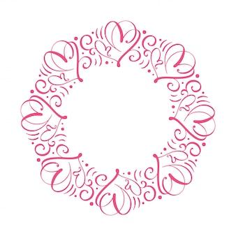 Вектор каллиграфические процветать венок. романтические круглые рамки с сердечками. поздравительная валентинка