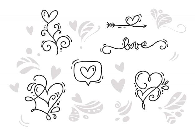 幸せなバレンタインデーホリデースケッチ落書きデザインカードとハート