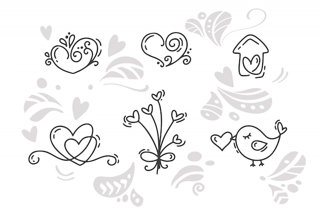 Вектор монолайн день святого валентина рисованной элементы. с днем святого валентина. праздничный эскиз каракули дизайн карты с сердцем.