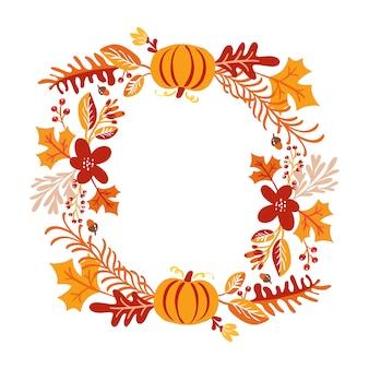 秋の花束の花輪のフレーム
