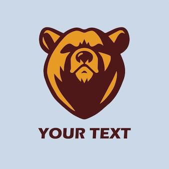 Медведь шаблон логотипа вектор талисман дизайн