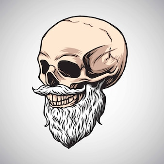 口ひげベクトルとあごひげを生やした頭蓋骨