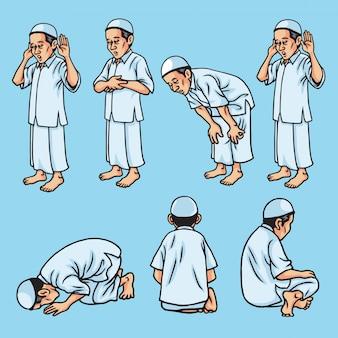 サラー、ショラット、シャラット、イスラム教徒の祈りの動き、イラストのセット