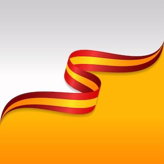 Абстрактный волнистый флаг испании с ленточным стилем