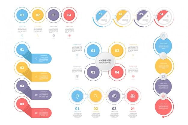 Набор инфографики шаблона процесса