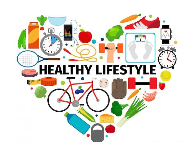 健康的なライフスタイルのハートエンブレム
