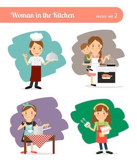 台所で女性。
