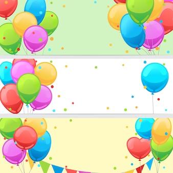 幸せなお祝いパーティーのためのバルーンと誕生日バナー