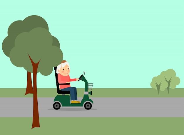 道路上の高齢者の女性