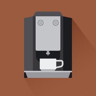 コーヒーマシンのアイコンと影