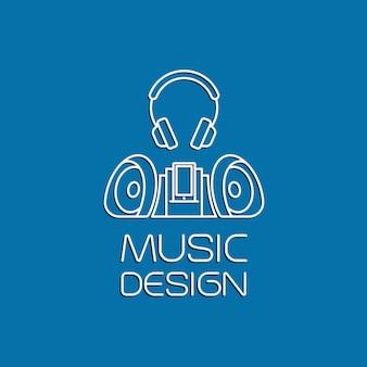Музыкальный дизайн с диктофоном и наушниками