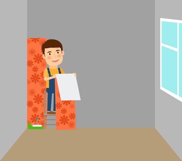 Человек делает ремонт в комнате