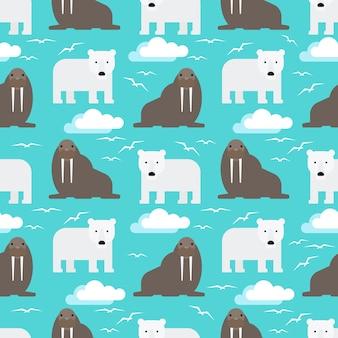 ホッキョクグマとセイウチのシームレスパターン
