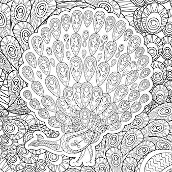 Раскраска для взрослых с павлином