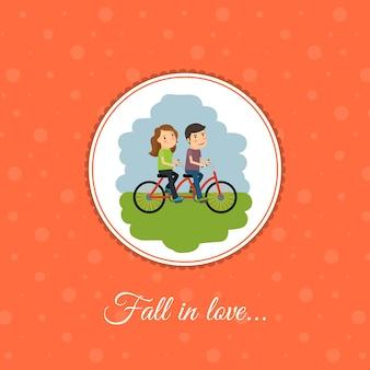 カップルは自転車に乗る