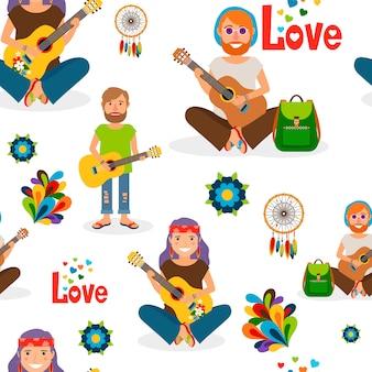ギターのシームレスパターンを持つヒッピーの人々