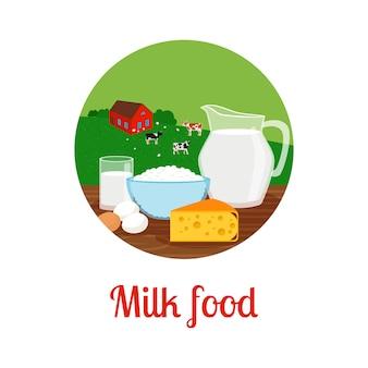 Значок круг молочной пищи