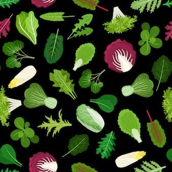 サラダグリーン野菜レタスの葉とハーブの背景