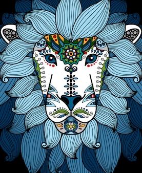 Голова льва с синим этническим цветочным орнаментом